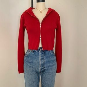 Brandy Melville darkred double zip up Arden hoodie